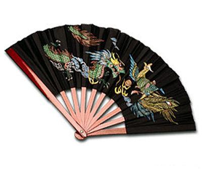 House Brand Bamboo Fan with Dragon & Phoenix Design